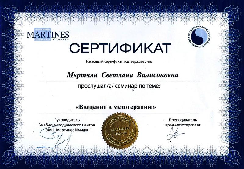 Мастер Светлана Мкртчян Москва У Ц Мартинес Имидж Введение в мезотерапию
